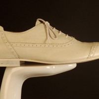 BURBERRY PRORSUM-White Leather Cap Toe Shoes, Size-10