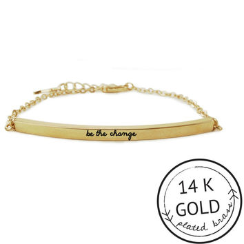 Be the Change Bar Bracelet with Charm by Kitsch {Gold}