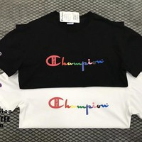 Champion x Kith Unisex Casual Rainbow Letter Print Couple Short Sleeve T-shirt Top Tee