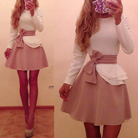 Patchwork Long Sleeves Lace Short Dresses
