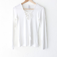 Lace Up V-neck Top - Ivory