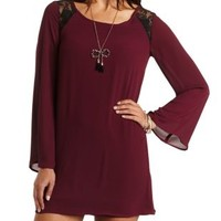 Lace Trim Bell Sleeve Shift Dress by Charlotte Russe - Garnet