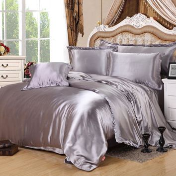 Home Textile Solid Satin 3/4Pcs twin/full/Queen/King Size comforter bedding sets Bedclothes Bed Linen Duvet Cover Set Bed Sheet