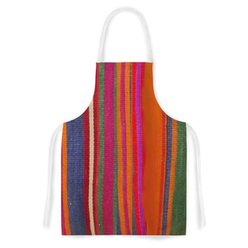 "S Seema Z ""LINE ART"" Orange Multicolor Artistic Apron"