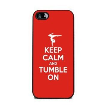 Keep Calm and Tumble On, Gymnastics - iPhone 5 or 5s Cover, Cell Phone Case - Black