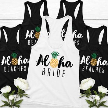Aloha Bride -  Bridesmaids Bride Tank Tops Pineapple Aloha Hawaiian Tropical
