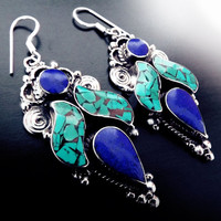 Vintage Nepalese earrings, sterling silver, turquoise and Lapis Lazuli earrings, boho jewelry, tibetan jewelry, mosaic jewelry, Lapis