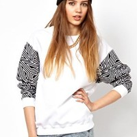 Illustrated People Trills Sleeve Sweatshirt at asos.com