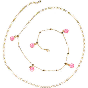 "38"" Pretty Pink Spring Flower Bead Dangle Belly Chain"
