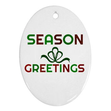 Festive Season Greetings Oval Ornament (two Sides)