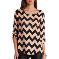 STUDDED OPEN BACK CHEVRON TUNIC TOP