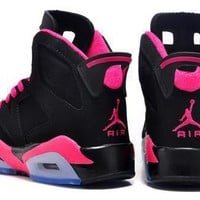 Hot Air Jordan 6 Retro Women Shoes Black Pink Purple