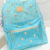 Blue Lace Backpack with Golden Rivets