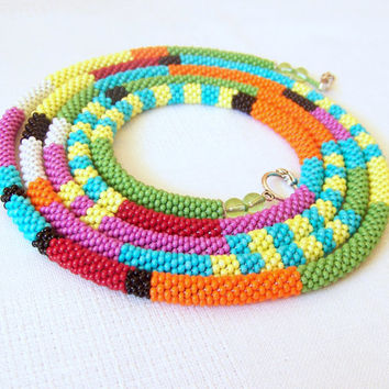 Long Beaded Crochet Rope Necklace - Beadwork - Seed beads jewelry - African style necklace - Elegant - Geometric  - Colorful necklace