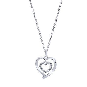 14K White Gold Diamond Double Heart Necklace