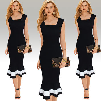 Black Square Neck Ruffled Midi Dress