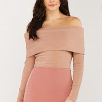 Long Sleeve Ribbed Off Shoulder Top in Black and Mauve