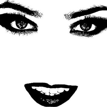 woman smiling eyes lips png Digital stamp Image Download facial features art graphics for cards t shirts pins buttons etc
