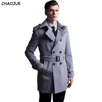 CHAOJUE Brand 2017 fashion 6XL plus size long sleeve brown woolen coat mens double breasted wool trench coat free shipping