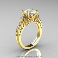 Modern Armenian Classic 14K Yellow Gold 1.5 Ct CZ Diamond Wedding Ring R137-14KYGDCZ