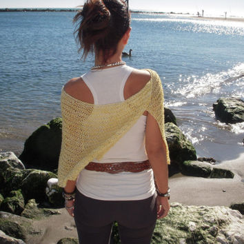 Wool capelet, loose knit, yellow poncho, knit wrap, knitted capelet,