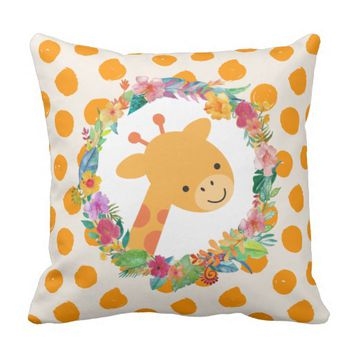 Cute Giraffe with a Watercolor Floral Wreath Throw Pillow