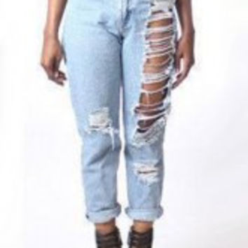 Light Blue High-Waisted Zipper Fly Hole Design Jeans