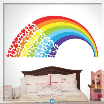 Rainbow Wall Decal, Rainbow decor - Rainbow decal - Rainbow sticker, Rainbow with hearts decal, kids rainbow, Nursery Wall decal