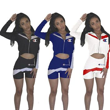Champion New fashion letter print top and shorts two piece suit women