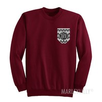 Monogrammed Crewneck Printed Pocket Sweatshirt | Marley Lilly