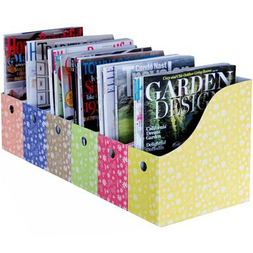 Evelots Set of 6 Magazine File Holder Storage Organizer W/ Labels, Floral