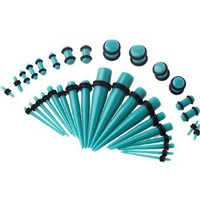 15 Pieces Gauges Kit Taper and Plugs Pairs of Plugs with single Tapers sizes 12G,10G,8G,6G,4G,2G,0G,00G
