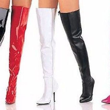 "Seduce 3010 Single Sole 5"" Heel Thigh High Boots 6-16 Red Black White Pink"