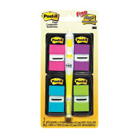 "Post-it(R) Flags Value Pack, Assorted Bright Colors, 1"" Wide, 50/Dispenser, 4 Dispensers/Pk, FREE Flag+ Highlighter"