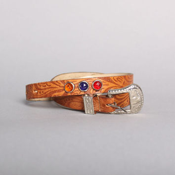60s STUDDED Leather Western BELT / Tooled & Bejeweled, m