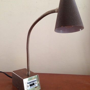Brown woodgrain and brass working tensor desk task lamp with hi low switch