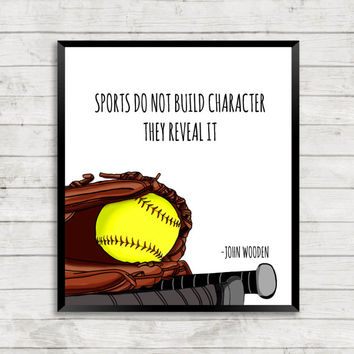 Softball Art Print, Sports Art Print, Quote Art
