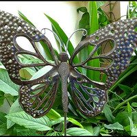 Metal Plant Stake - Butterfly Garden Art Plant Stick - Metal Garden Decor - Metal Art Butterflies - Haitian Steel Drum Metal Art - PS-1785
