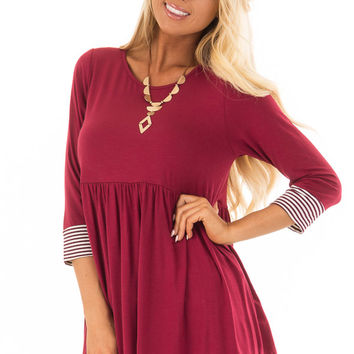 Burgundy Baby Doll Top with Striped Trim Detail