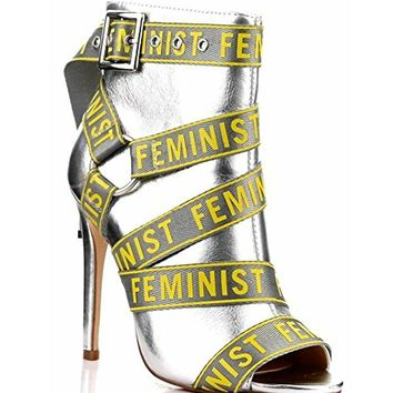 Feminist Strappy Stiletto Ankle Booties