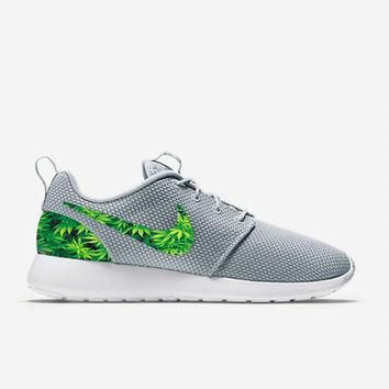 Custom Wolf Grey Weed Leafs Marijuana Nike Roshe Run Shoes Fabric Pattern Men's Birthd