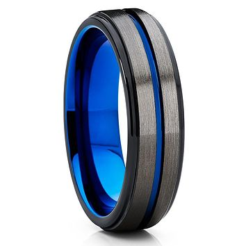 GUNMETAL Tungsten Wedding Band - Blue Tungsten Ring - 6mm Gunmetal Ring