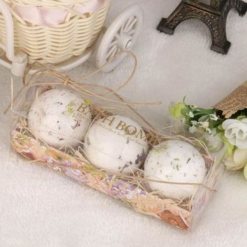 CREY78W 3Pcs Natural Sea Salt Bath Ball Set Lavender Rose Flow Bath Bombs Ball Lavender Bubble Essential Body Scrub #622