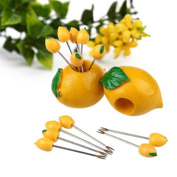 Creative cute fruit pick Lemon food Yellow dessert cake fork holder dining table decor home kitchen useful party utensils P10