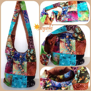 Hippy Satchel, Hobo Bag, One Of A Kind, School Bag, Shoulder Bag, Bohemian, Purse, Beach Bag, Diaper Bag, Hippie, Gypsy, Travel, Tie Dye Bag
