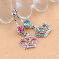 Fashion Ladies Sexy Crown Crystal Rhinestone Piercing Navel Belly Ring Button Bar Jewelry = 1645877380