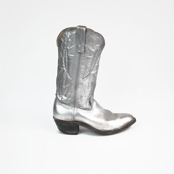 Vintage Silver Cowboy Boots Mens Levis Cowboy Boots Country Western Rodeo Space Cowboy Pull On Boots Leather Pointed Toe Low Heel Size 7.5