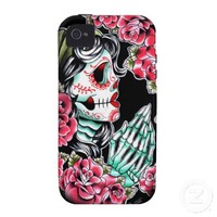 Dia De Los Muertos Sugar Skull Tattoo Flash Case-Mate iPhone 4 Covers from Zazzle.com