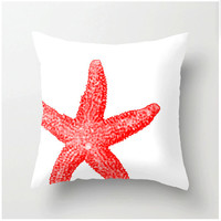 Coral and White Starfish Pillow - beach decor home decor nautical themed pillows Pantone color Cayenne - coral accent cushions coastal decor