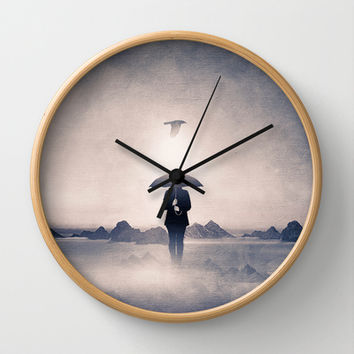 Waiting for the rain (colour option) Wall Clock by Viviana González